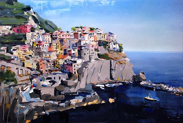 "'Cinque Terre'  24""x36"" Oil on wood"