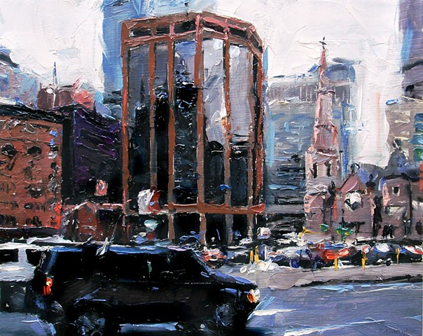 "'Lincoln St. Denver City'  8""x10"" Oil on wood. SOLD"