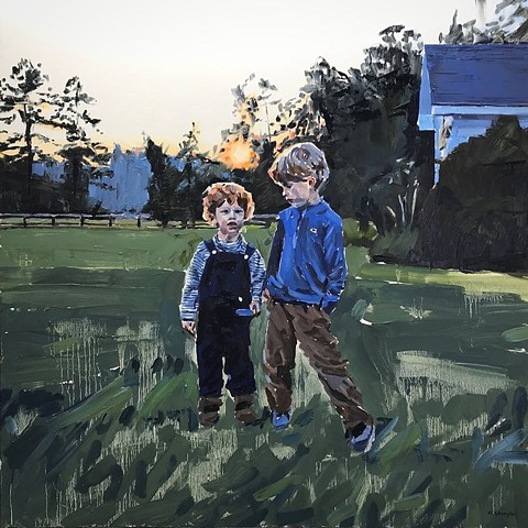 """'Brothers Commission Portrait' 40""""x40"""" Oil on wood"""
