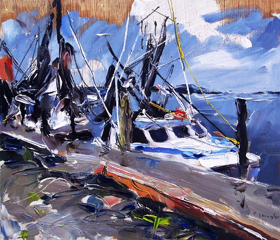"'Fishing Boats. Beaufort, NC' 12""x14"" Oil on wood."