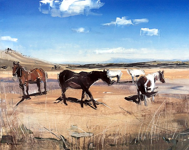 "Grazing Horses. Red Lodge, MT.  16""x20"" Oil on wood"