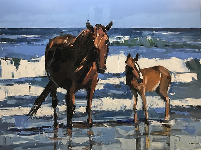"'Wild Horses. North Carolina Coast' 30""x40"" Oil on wood"