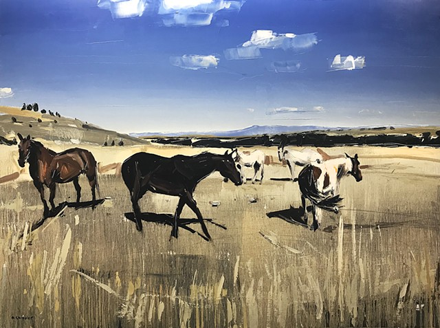 "'Grazing Horses 1. Red Lodge, MT' 36""x48"" Oil on wood"