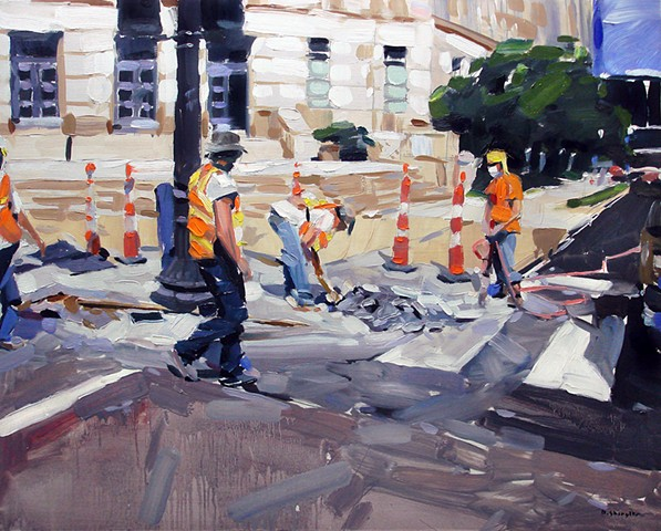 "'Raleigh Construction'  24""x30"" Oil on wood"