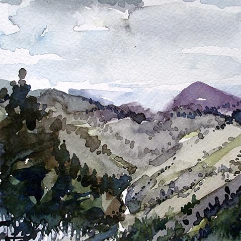 """Colorado.  Lookout Mt.  6""""x6"""" Watercolor"""