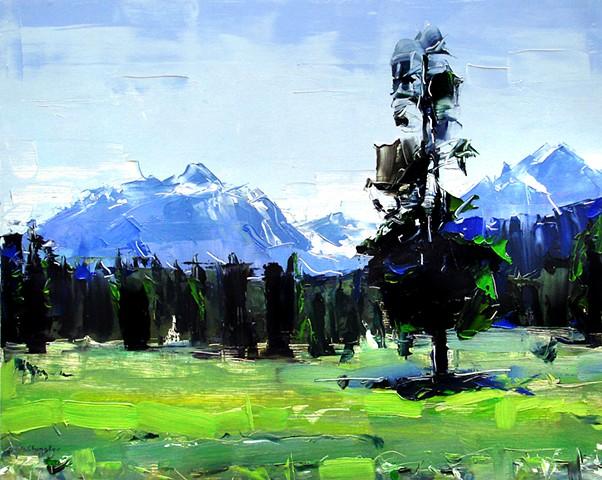 "'Grand Teton National Park' 16""x20"" Oil on wood"