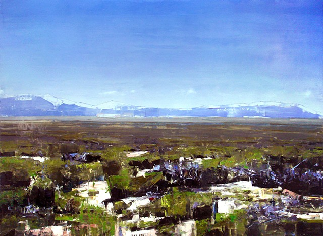 """'Chico Basin. San Luis Valley, Colorado' 48""""x66"""" Oil on wood"""