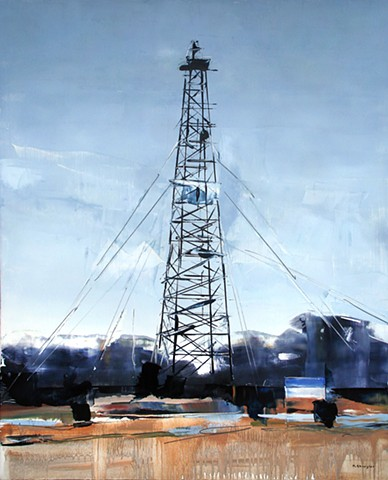 "'Oklahoma Oil Tower'  24""x30"" Oil on wood"