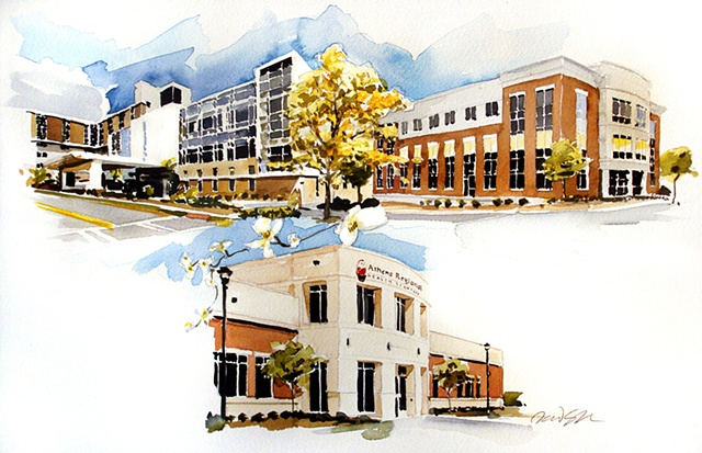 "Commission gift to VP and CEO Regional Services Hospital buildings, Athens Georgia. 15""x23"" Watercolor"