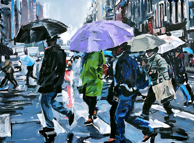 "'City Rain. NYC'  30""x40"" Oil on wood"