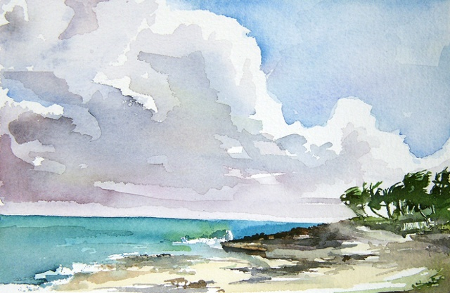 "Bahamas. North beach  7""x9"" Watercolor"