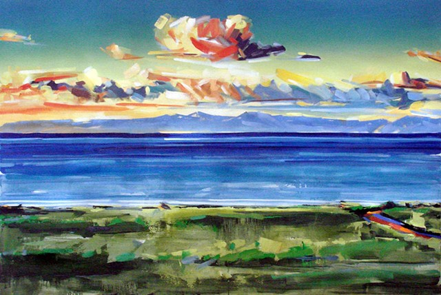 "'Catalina Island California' 48""x72"" Oil on wood"