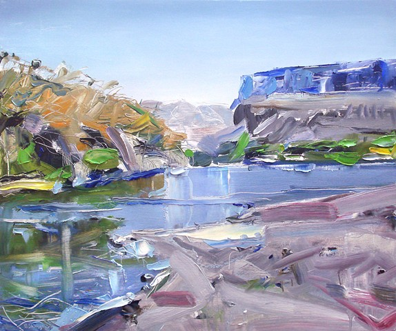"'Rio Grande River, Big Bend National Park. Texas' 20""x24"" Oil on wood."