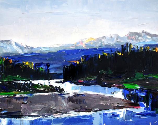 """'Snake river sunset'  Grand Teton National Park. 16""""x20"""" Oil on wood 2013"""