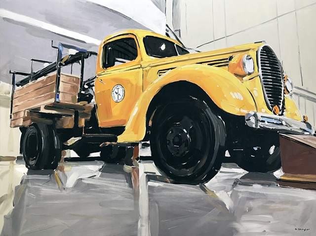 "'Pike Electric. Yellow Truck'  30""x40"" Oil on wood"