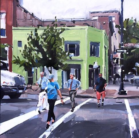 "'Corner of Hargett & Wilmington St. Raleigh' 24""x24"" Oil on wood"
