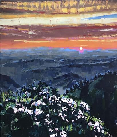 "'Sunset. Blue Ridge Mountains NC'  56""x48"" Oil on wood"