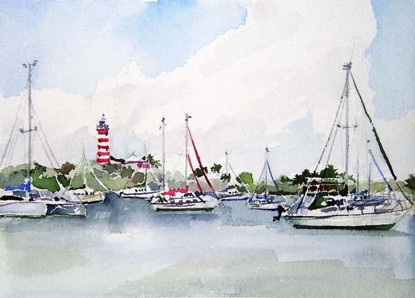 "Bahamas. Lighthouse Harbor  7""x9"" Watercolor"