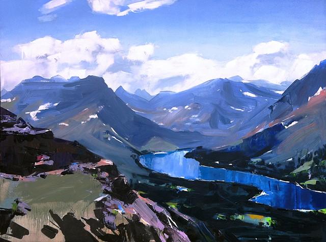 """'Glacier National Park. MT'  36""""x48"""" Oil on wood"""