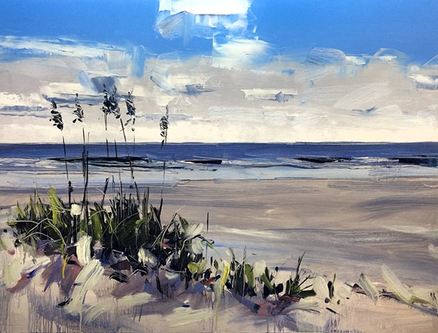 "'Wrightsville Beach. NC'  30""x40"" Oil on wood"