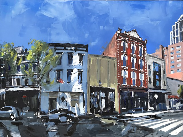 "'Historic Briggs Hardware. Raleigh NC'  36""x48"" Oil on wood"