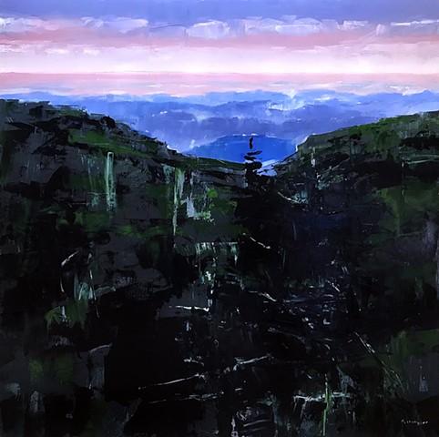 "'Blue Ridge Mountains. Boone, NC' 36""x36"" Oil on wood"