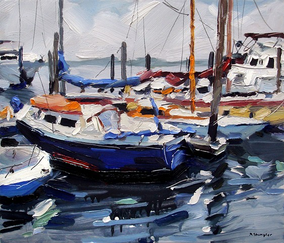"'Boats in Beaufort'  12""x14"" Oil on wood"