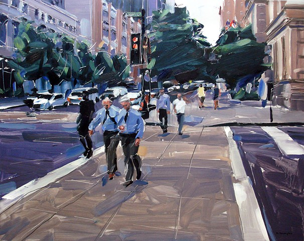 "'Martin St. Downtown Raleigh'  24""x30"" Oil on wood"