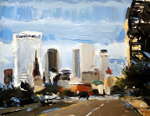 "Downtown Tulsa. Boston St.  14""x19"" Oil on wood"