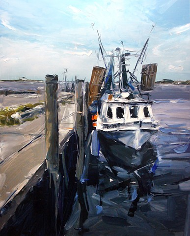 "'Fishing Boat. Beaufort, NC' 24""x30"" Oil on wood"