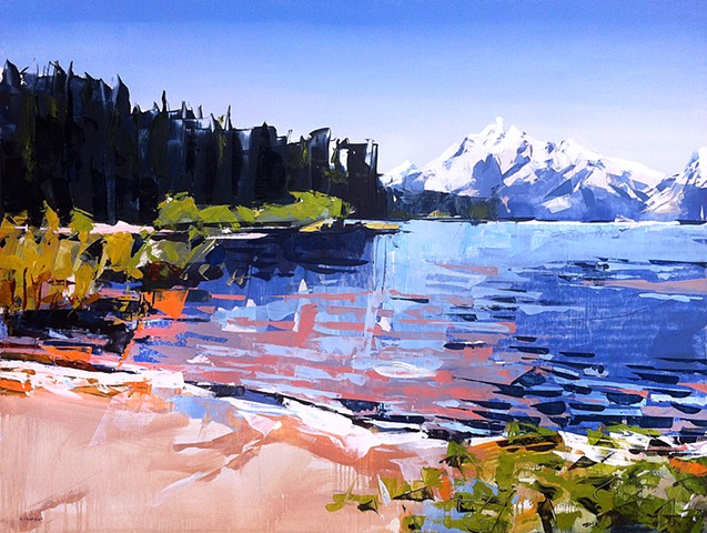 "'Grand Tetons National Park. WY'  30""x40"" Oil on wood"