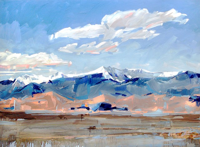 "'Mt. Herard of the Sangre de Cristo' San Luis Valley, Colorado. 48""x66"" Oil on wood."