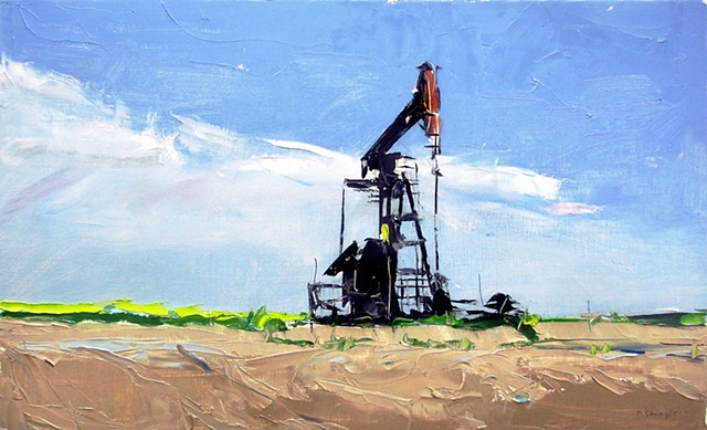 "'1 Oil Pump' 12""x20"" Oil on wood"