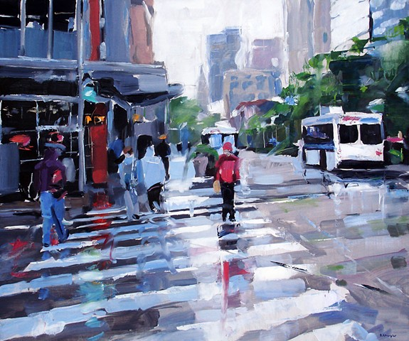 "'16th Street Mall'  30""x36"" Oil on wood"