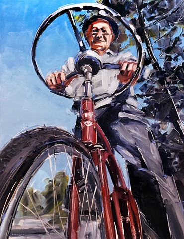 "'Man on bike with steering wheel'  30""x40"" Oil on wood"
