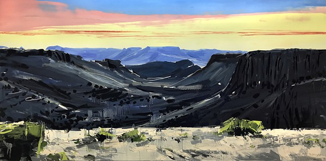 "'Plateaus. San Antonio Texas'  36""x72"" Oil on wood"