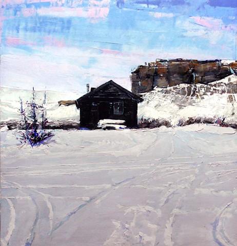 "'Cabin' Kremmling, Colorado 29.5""x31"" Oil on wood."