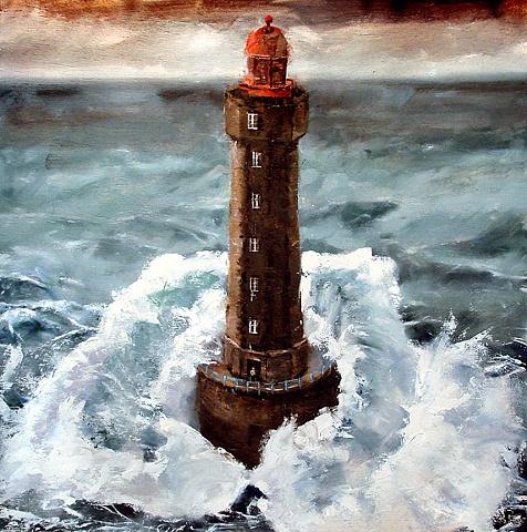 """France. Lu Jament Lighthouse 20""""x20"""" Oil"""