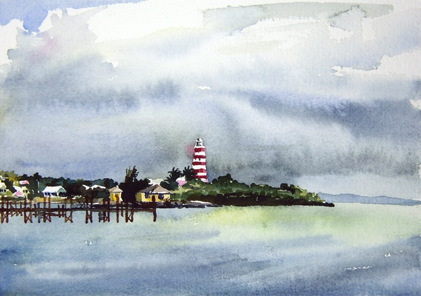 "Bahamas. Lighthouse Cloud  6""x9"" Watercolor"