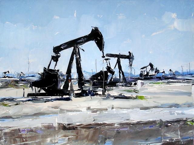 """Oklahoma Oil Pumps.  18""""x24"""" Oil on wood"""