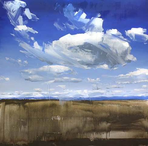 "'Couds Wyoming' 48""x48"" Oil on wood"