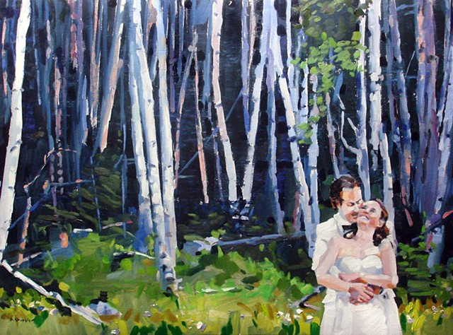 "Wedding portrait 21""x29"" Oil on wood"
