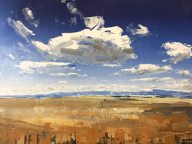 "Wyoming Clouds 30""x40"" Oil on wood"