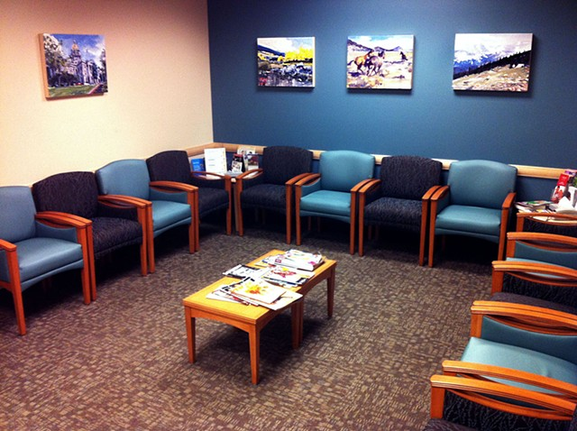 """Exempla Cardiovascular Healthcare Clinic Installation  5 paintings at 18""""x24"""" Oil on wood"""