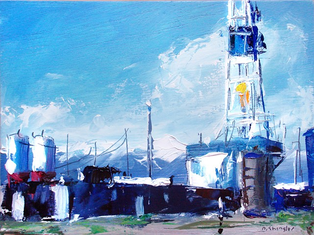 "Oil industry rig.  8""x10.5"" Oil on wood"