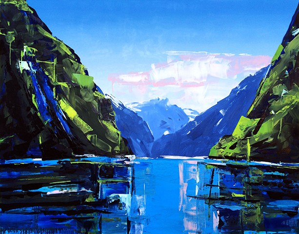 "'Fjords Norway'  42""x54"" Oil on wood"