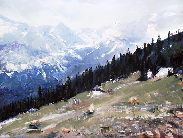"Exempla Cardiovascular Healthcare Clinic  'Rocky Mountain National Park. Colorado' 18""x24"" Oil on wood 2012"