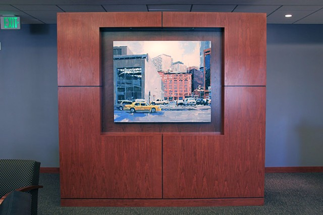 "'Brown Palace Taxi' 40""x48"" Oil on wood  Commission painting purchased by Brownstein Hyatt Farber & Schreck Law Firm in Denver, CO."