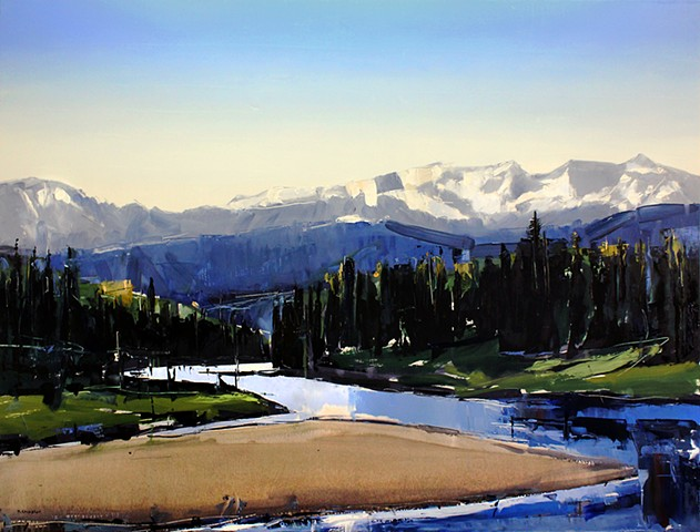 "'Snake River. Wyoming' 36""x48"" Oil on wood"