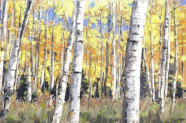 "'Fall Aspens. Colorado'  40""x60"" Oil on wood"